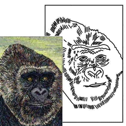 Gorilla Pattern Example Rug Hooking Pattern by Michele Micarelli
