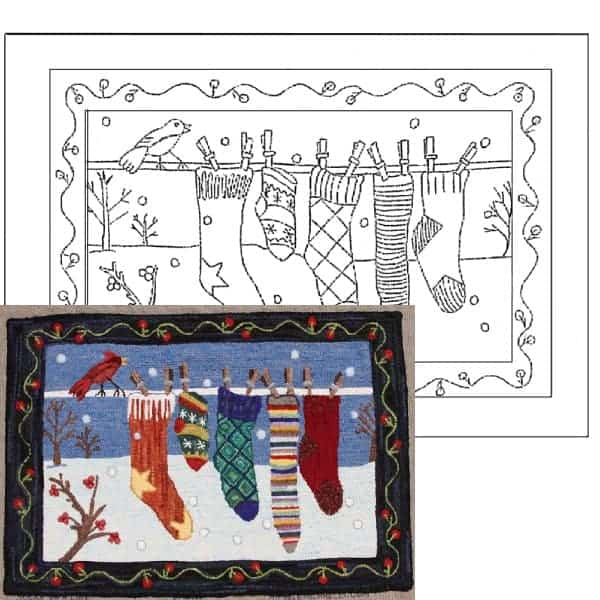 Socks on a Line Rug Hooking Pattern- Example