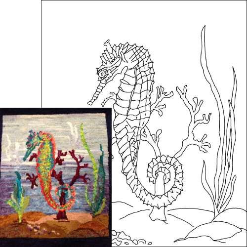 Michele Micarelli Seahorse Rug Hooking Pattern Example
